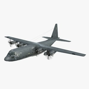 3d model flight mode gunship lockheed c-130