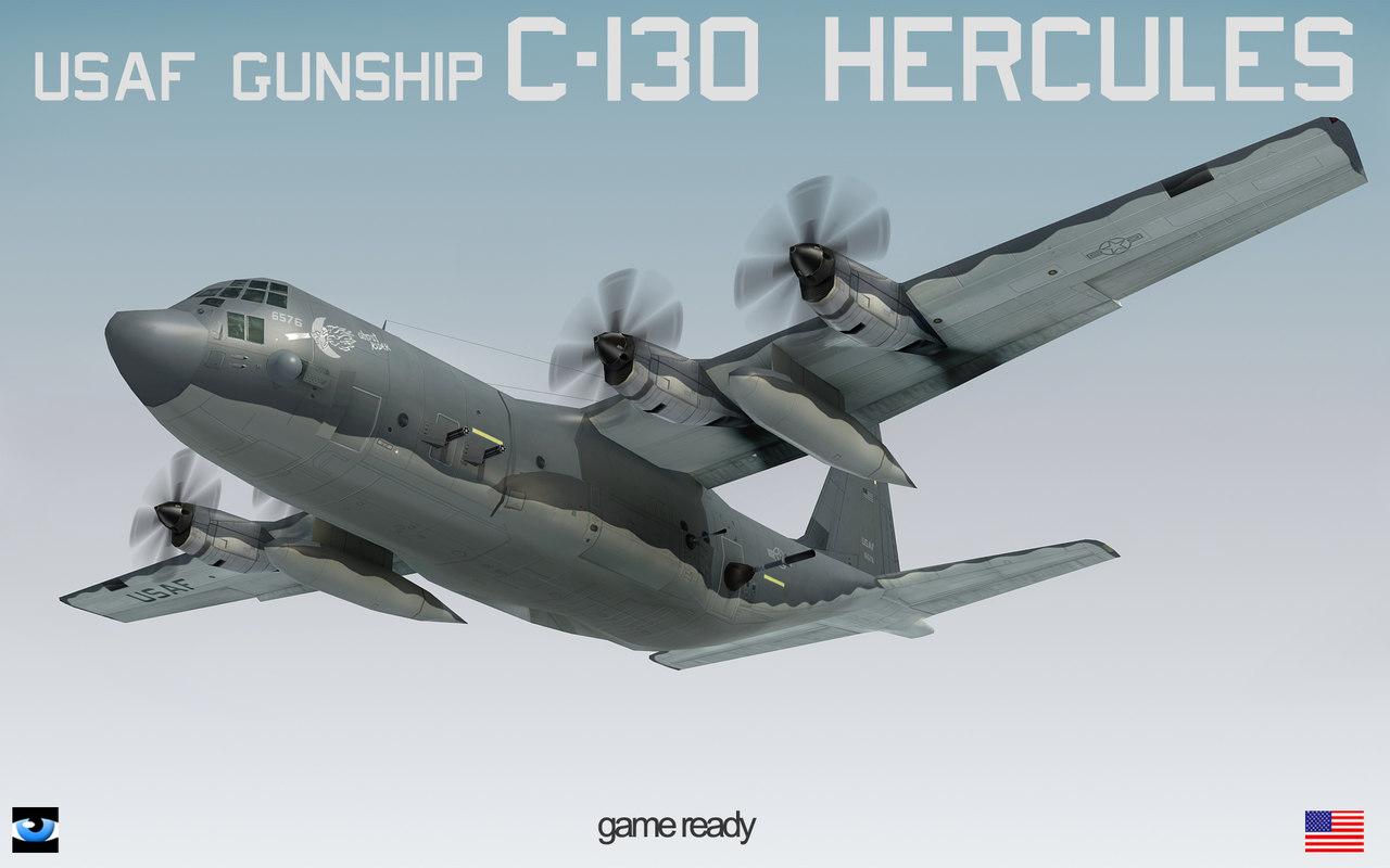 flight mode gunship lockheed c-130 3d model