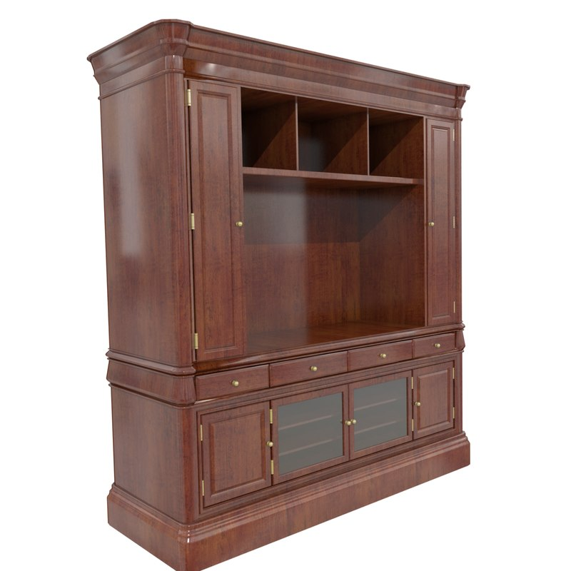 walnut display cabinet 3d model