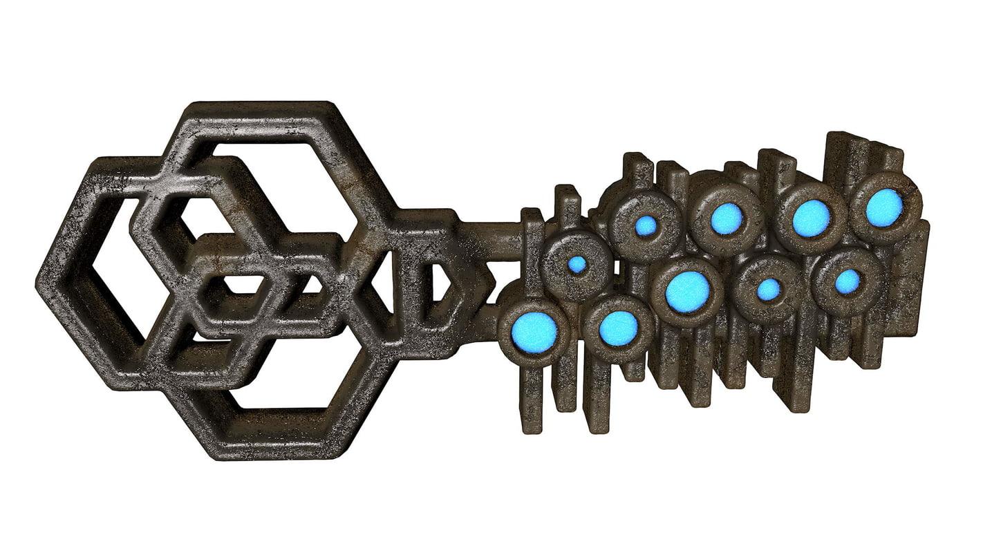 3d glowing metal key model