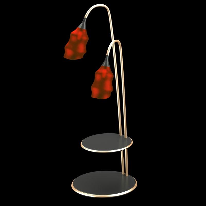 3d modern floor lamp red model