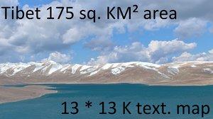 3d tibetan mountain landscape model