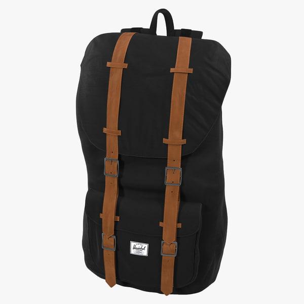 3d backpack 8 black modeled