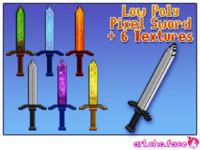 Low Poly Pixel Sword with 6 textures