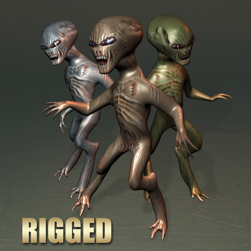 rigged grey alien max