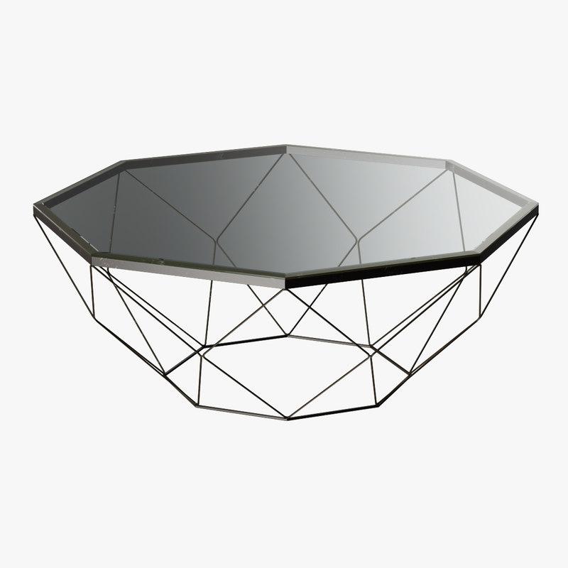 geometric antique brass coffee table 3d max