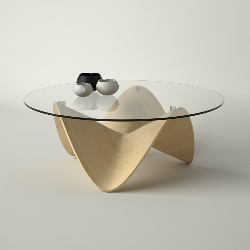 3d wave design coffee table model