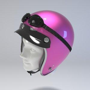 pink retro motorcycle helmet 3d model
