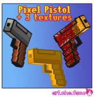 Low Poly Pixel Pistol Gun and 3 textures