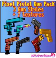 Low Poly 3 Gun Pixel Pistols Pack