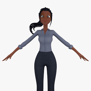 cartoon business woman 3d model