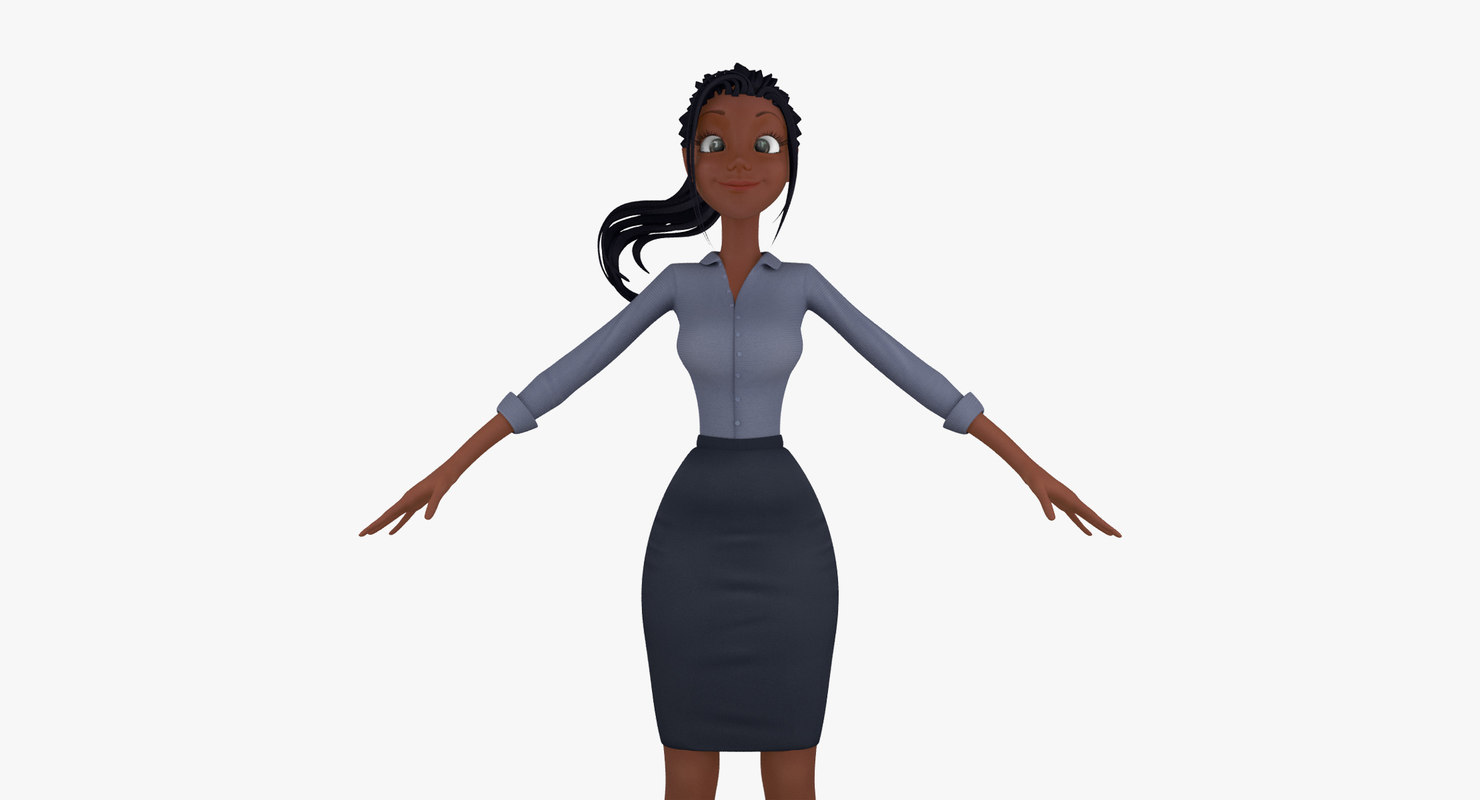 3ds max cartoon business woman