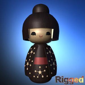 3d model japanese doll