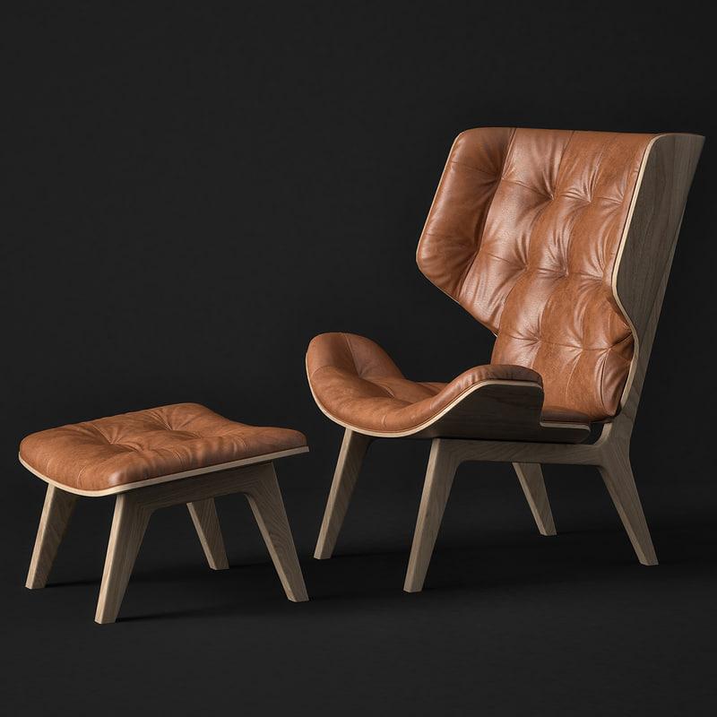 3d model mammoth chair norr11 ottoman