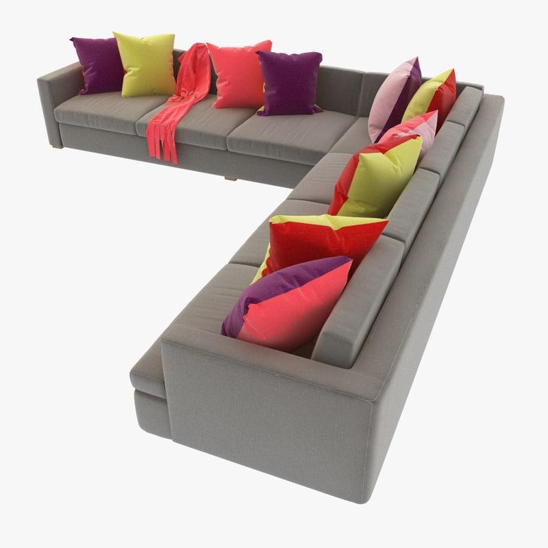 3d sofa pillows sectional model