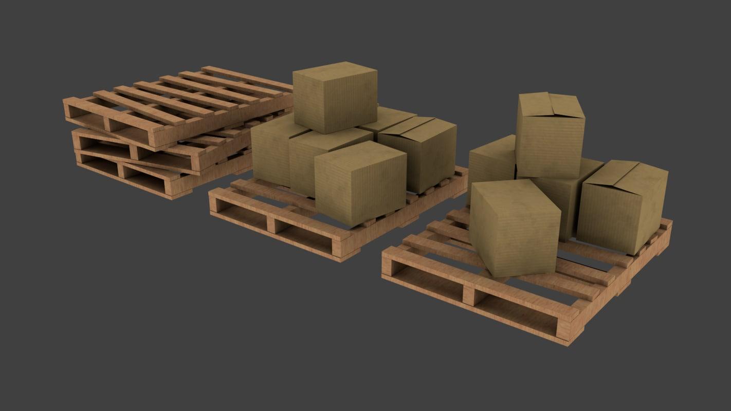 3d model of pallet set