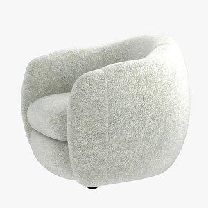 3d model chair jean royere bear