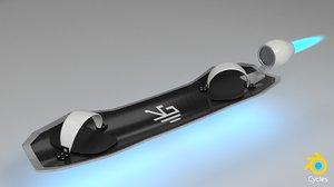 skateboard fly board 3d blend