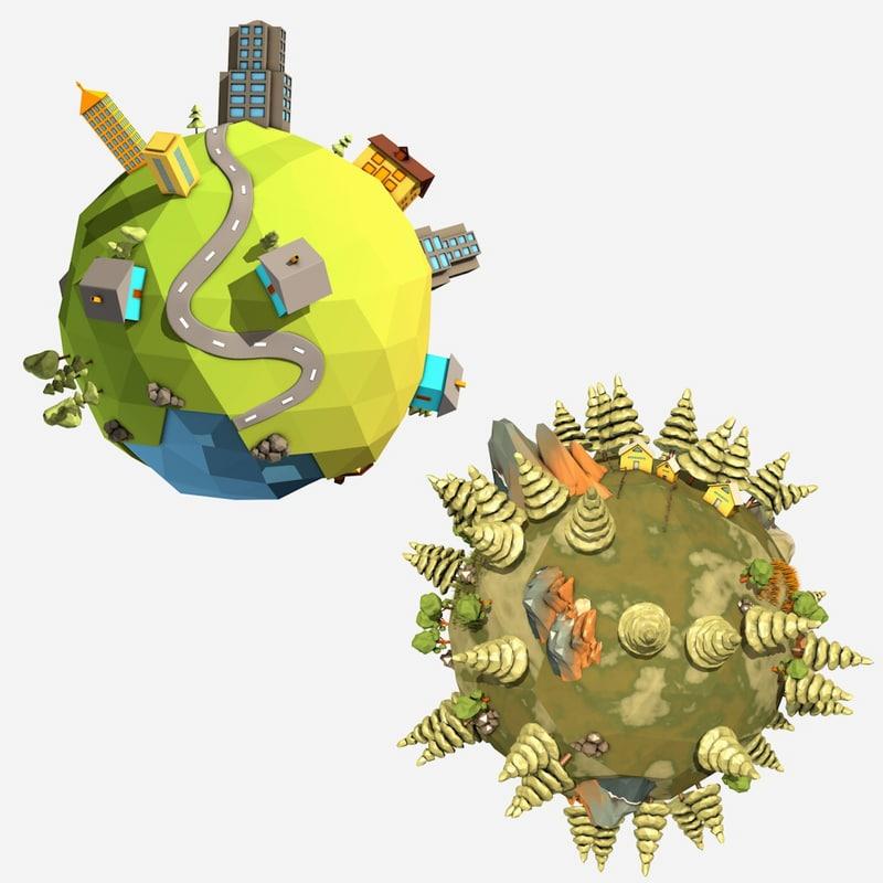 3d cartoon planet model
