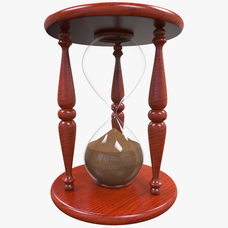 3d hourglass sand wood model