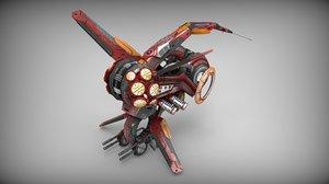 drone manga red 3d model