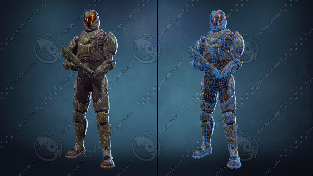 3d model sci-fi soldier armor