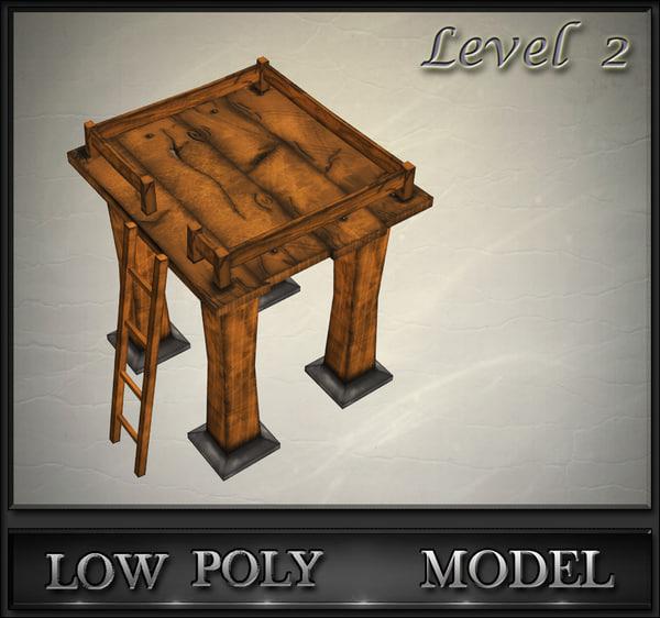 wood tower lvl 2 3d model