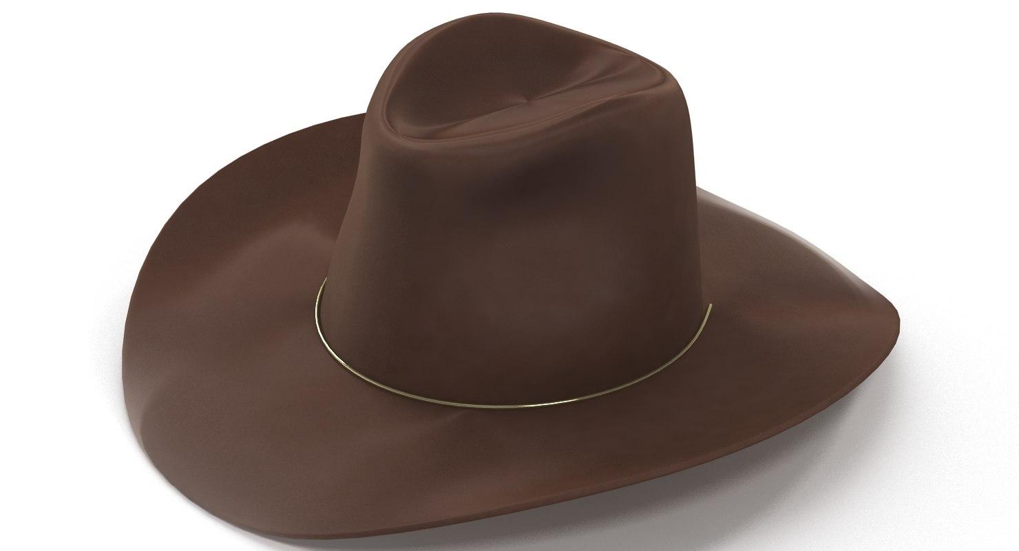 3d girl brown hat