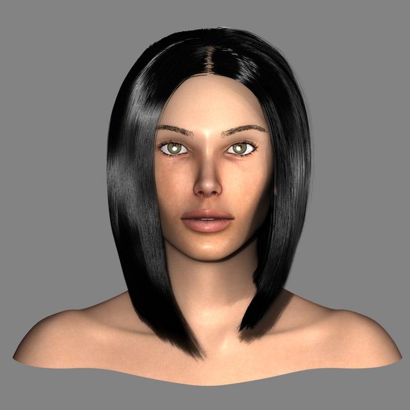 3d realistic female head
