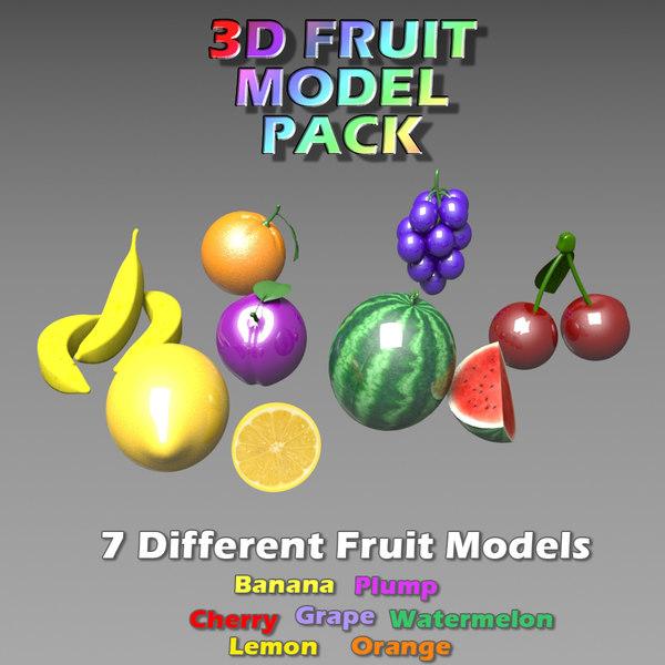 3d model fruit set games