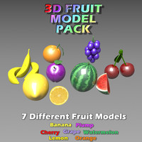 3D Fruit Model Pack 7 in 1