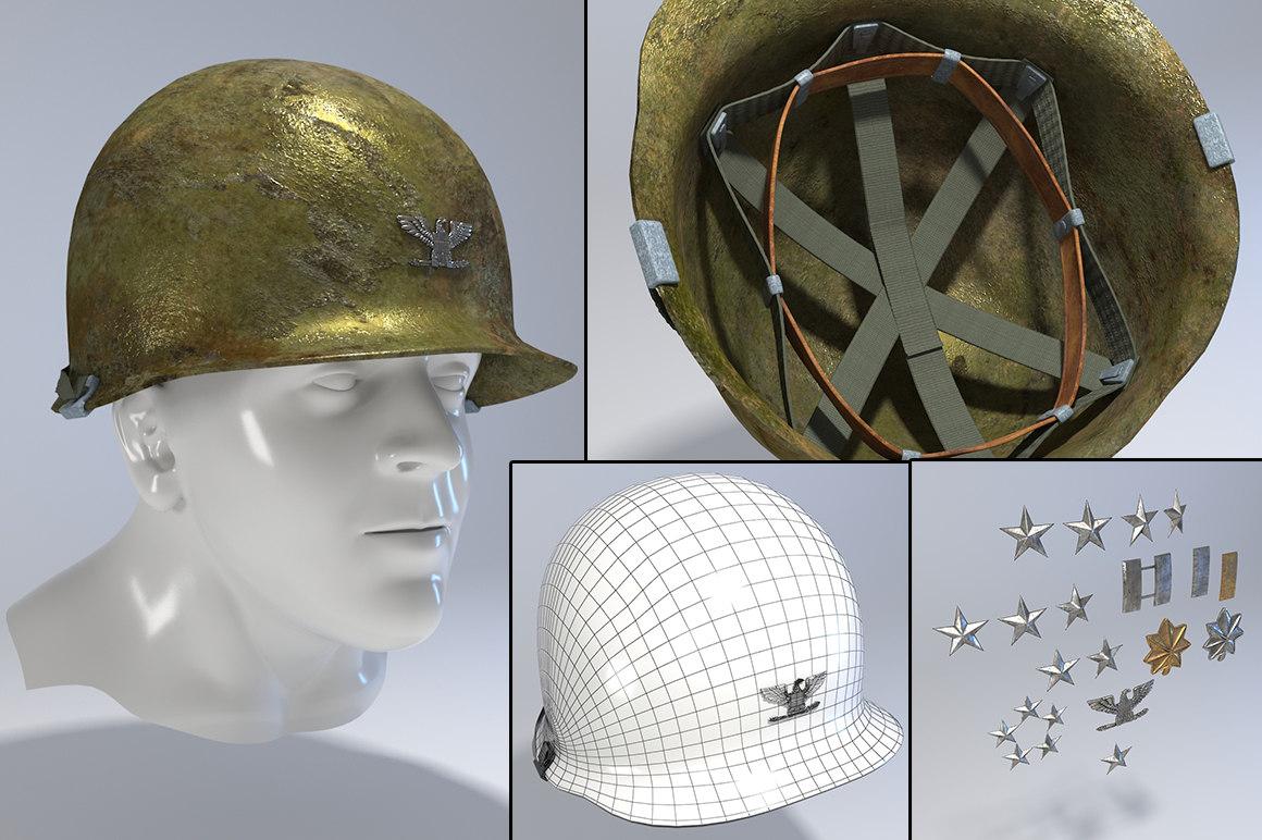 3d old usa helmet korea model