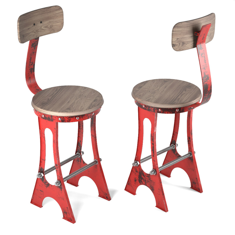 frame bar stool chair 3d model