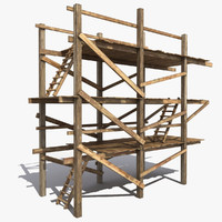 Old Wooden Scaffolding 3