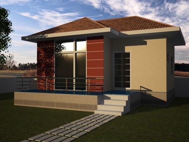 free house garden 3d model