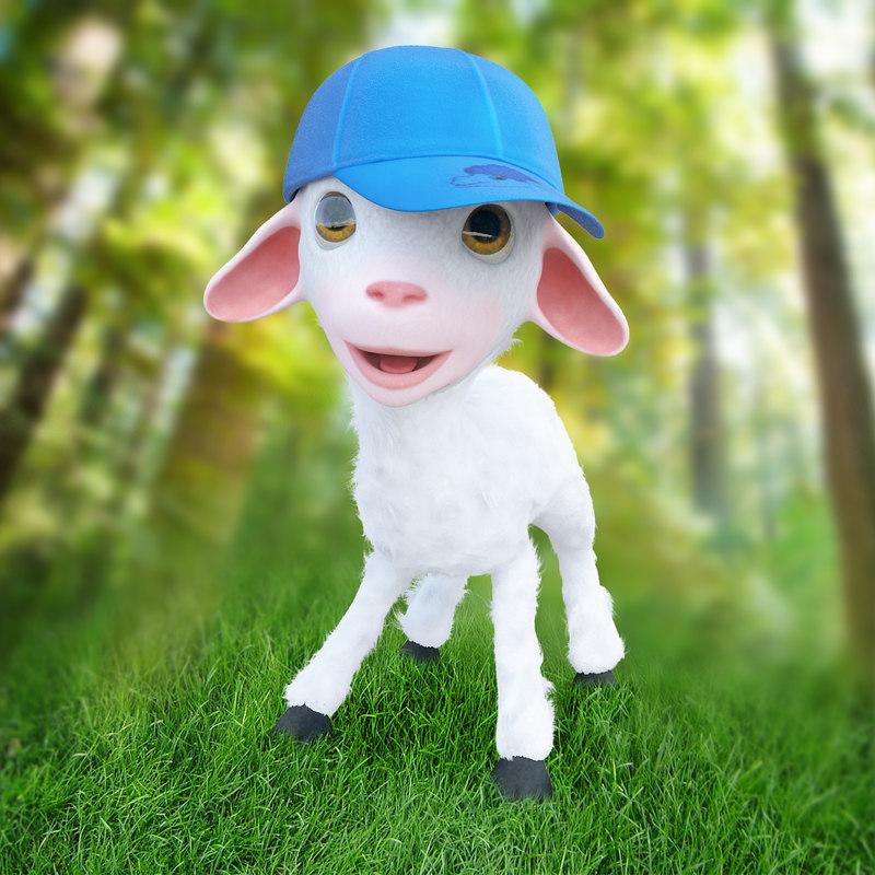 3d model of cartoon boy lamb rigged