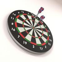 darts target arrows 3d model