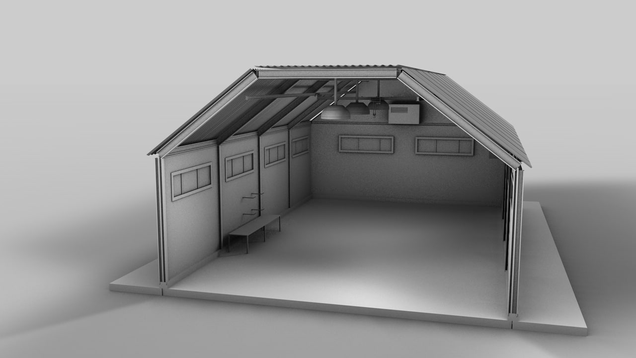 plane hangar car garage 3d model
