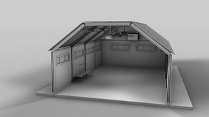 plane hangar car garage 3d model