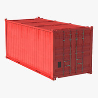 collapsible iso container red c4d