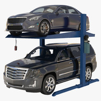 Post Parking Car Lift and Cars 3D Model