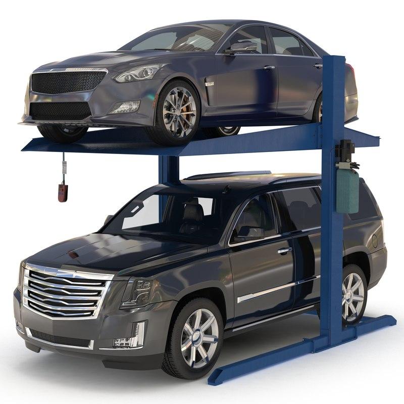 3d post parking car lift model