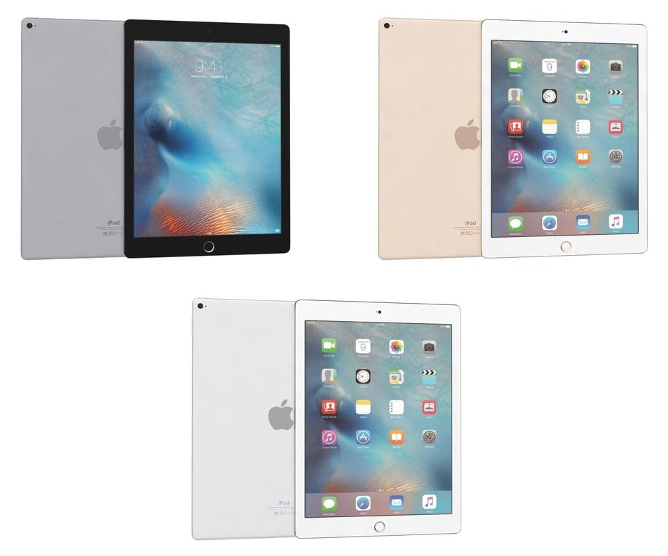 3d apple ipad pro colours model