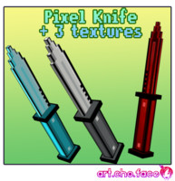 Low Poly Pixel Knife with 3 Textures