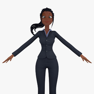3d model cartoon business woman