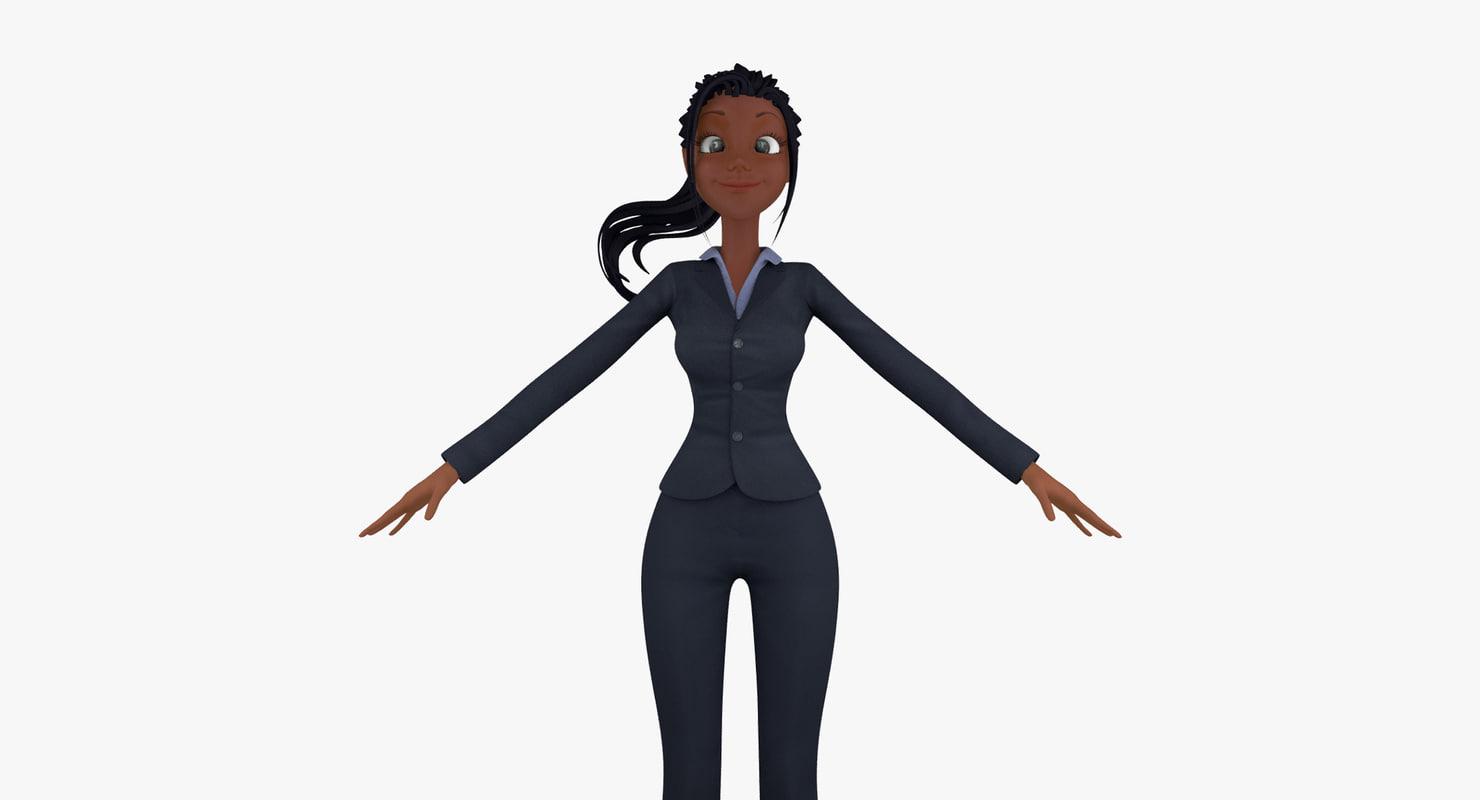 3d model cartoon business woman