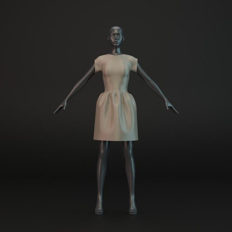 short evening dress obj