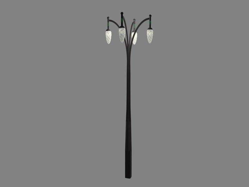 3d model art deco streetlamp