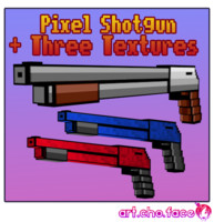 Low Poly Pixel Shotgun and Three Textures