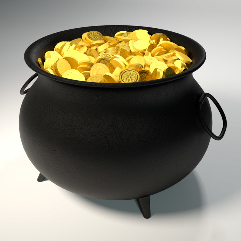 3d model of cauldron gold coins
